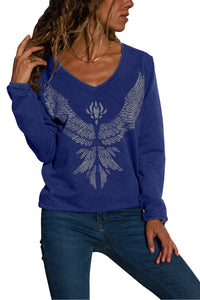 Blue Eagle Spread Wing Print Pullover