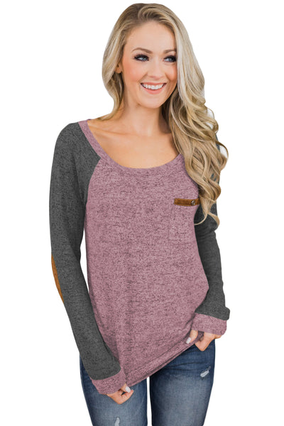 Marble Pink Elbow Patch Long Sleeve Top