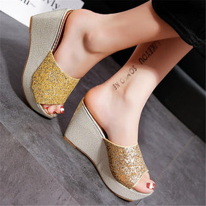 Frosted sequined platform wedge slipper