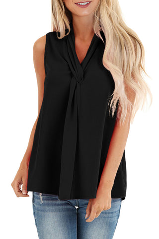 Black Sleeveless Blouse Top with Front Twist
