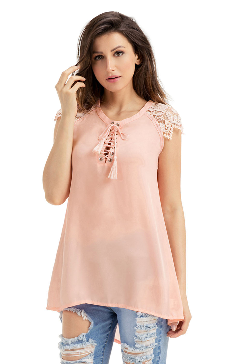 Pinkish Lace Sleeves Lace up Tunic Top