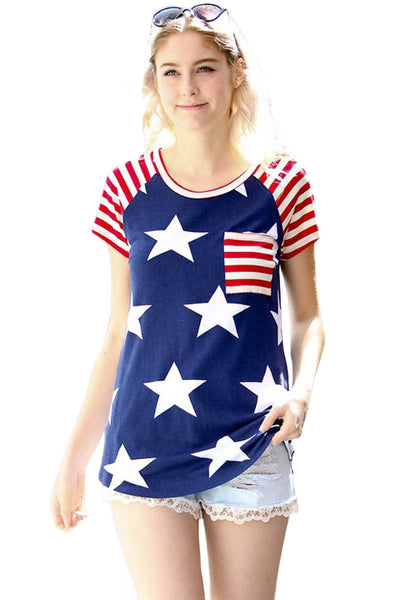 Striped Short Sleeves Red Navy American Flag T-shirt