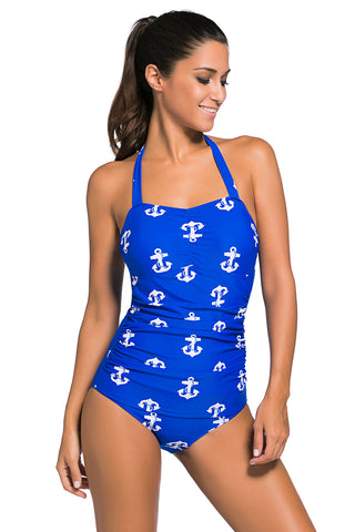 Vintage Inspired 1950s Style Blue Anchor Teddy Swimsuit