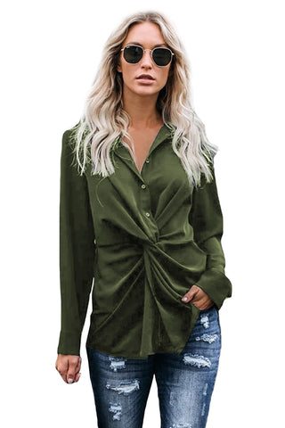 Green Button Down Twist Blouse