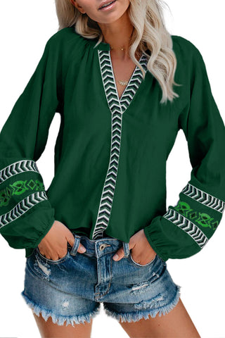 Green Istanbul Cotton Embroidered Peasant Blouse