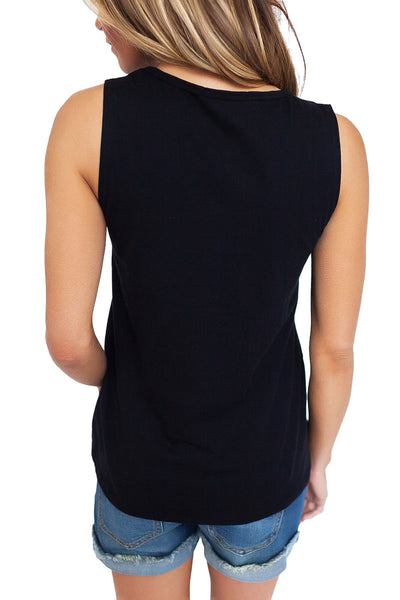 Black T Front Strappy Neck Tank
