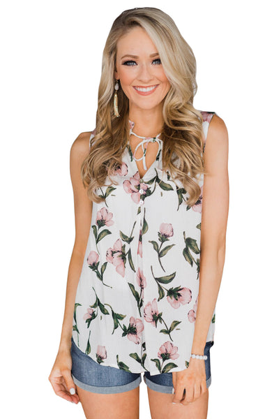 White Finesse Neck Tie Chiffon Tank Top