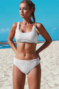 White Scoop Neck Crop Top Mid Rise Bottom Two-piece Swimsuit