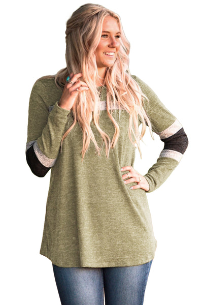 Army Green Sweater Tunic with Blocks