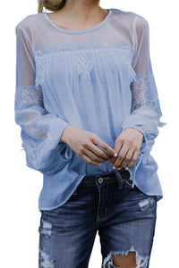 Sky Blue Fashion Lantern-Sleeve Lace Patchwork Top