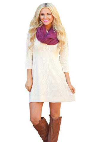 White Cable Knit Fitted 3/4 Sleeve Sweater Dress