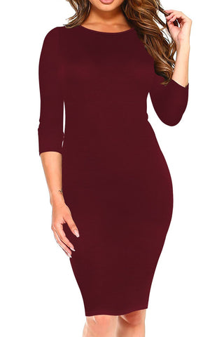 POPHERS Solid Color Round Neck Bodycon Dresses