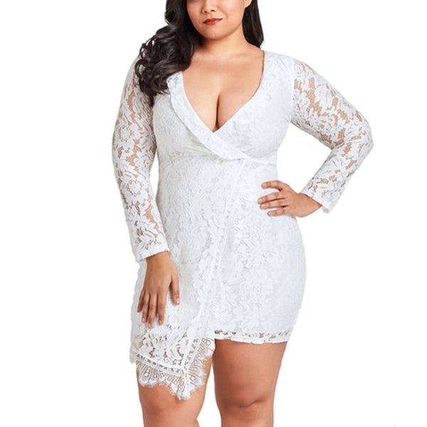 POPHERS Plus-size pure color sexy hollowed-out lace long sleeves dress