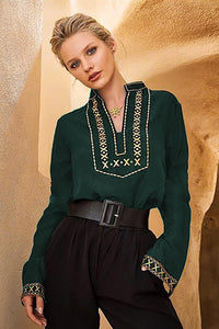 Green Boho Embroidered V Neck Long Sleeve Casual Top