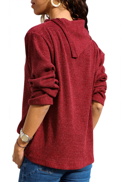 Burgundy Asymmetric Cowl Neck Ribbed Knit Top