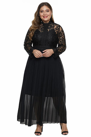 Black High Neck Long Sleeve Lace Top Plus Size Maxi Dress