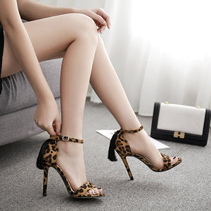 European and American Leopard grain hollow fine high with open-toed sandals