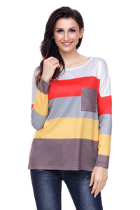 Red Yellow Colorblock Pocket Pullover Tunic Top