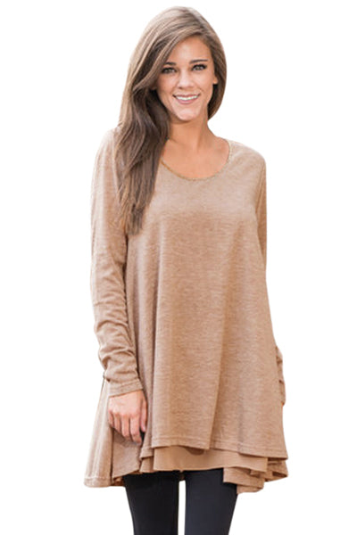 Khaki Swingy Layered Long Sleeve Tunic