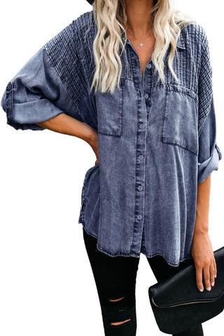 Blue Be A Rockstar Vintage Washed Button Down Top