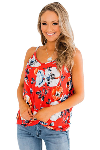 Red Floral Strappy Shoulder Tank Top
