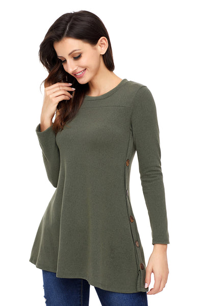 Olive Button Side Long Sleeve Swingy Tunic