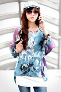 Purple Ink Painting Floral Print Chiffon Blouse