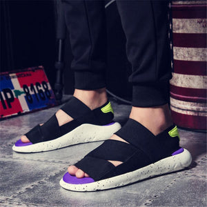 Couple models soft stretch cloth breathable casual sandals