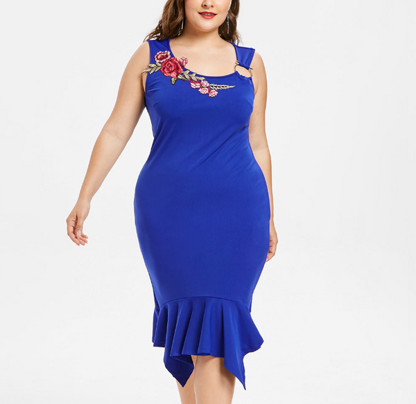 POPHERS Plus-size sexy embroidery sling dress