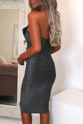 POPHERS Gray Luxe Glam Knot Front Bandeau Midi Dress