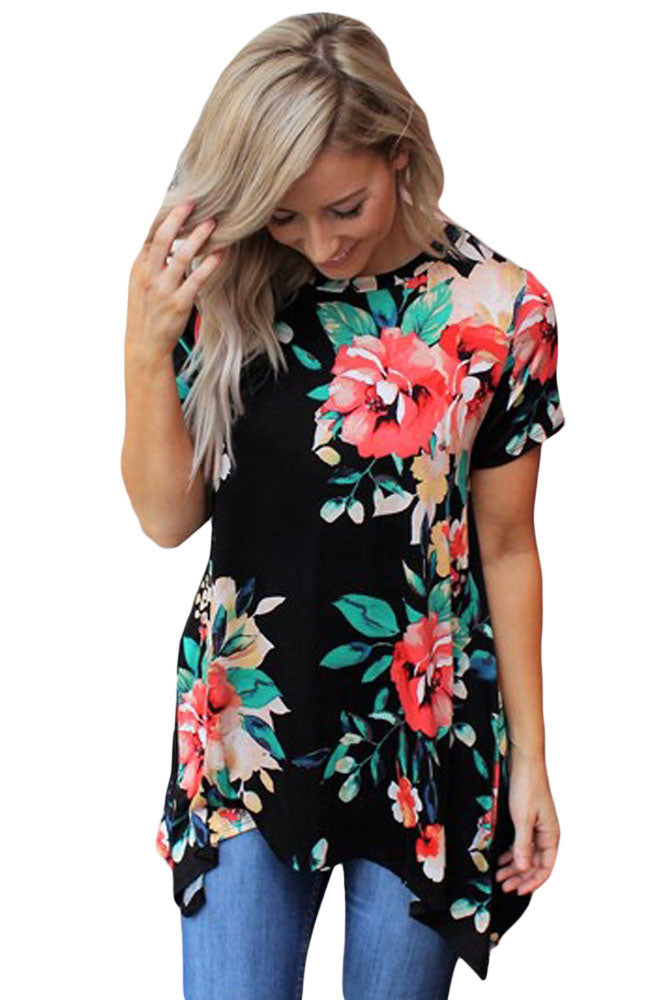 Black Floral Short Sleeve Tunic