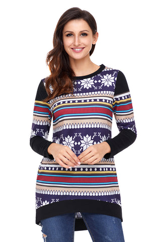 Multi Stripes Snowflake Print Long Sleeve Christmas Top