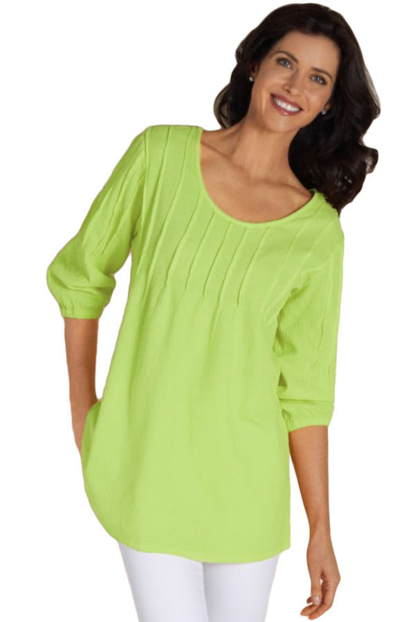 Grassy Pintuck Quarter Sleeved Tunic Top