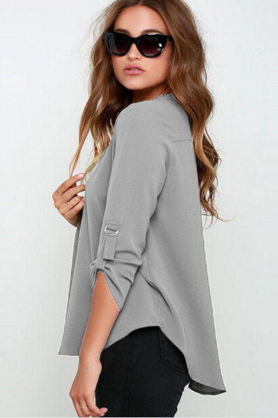 Grey V Neck Loose Fitting Chiffon Blouse