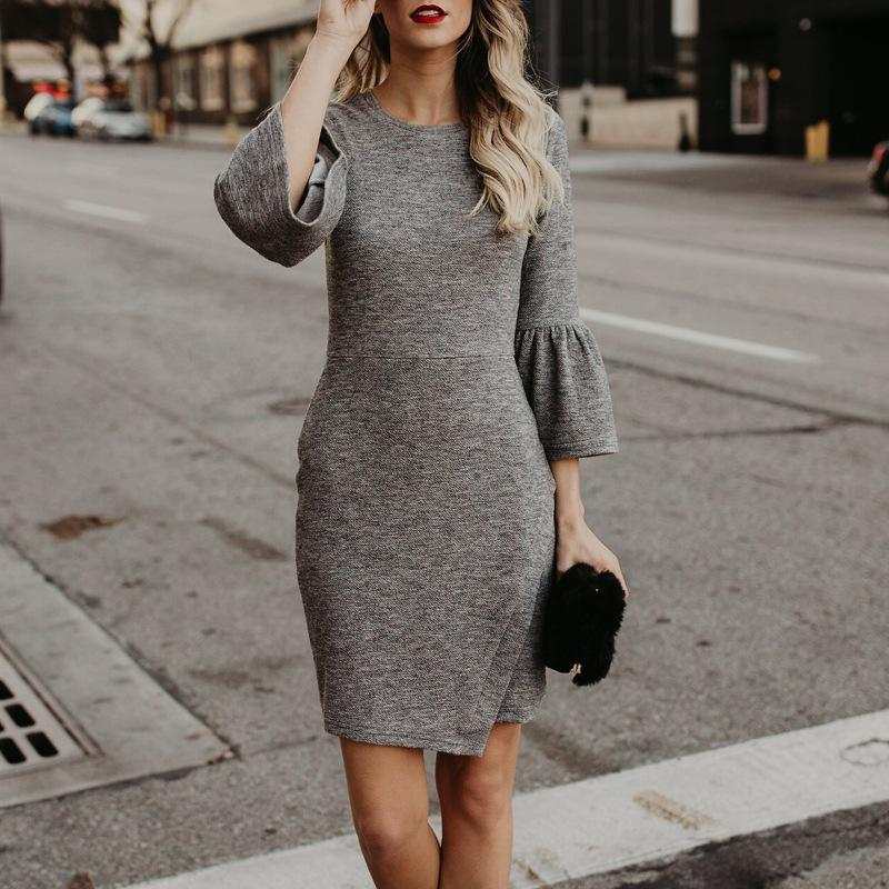 POPHERS Solid O-Neck Flare Sleeve Slim Bodycon Dress