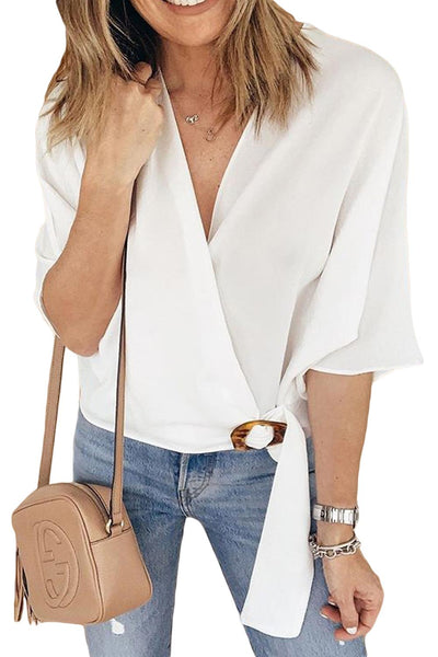 White Buckle Wrap Crop Top