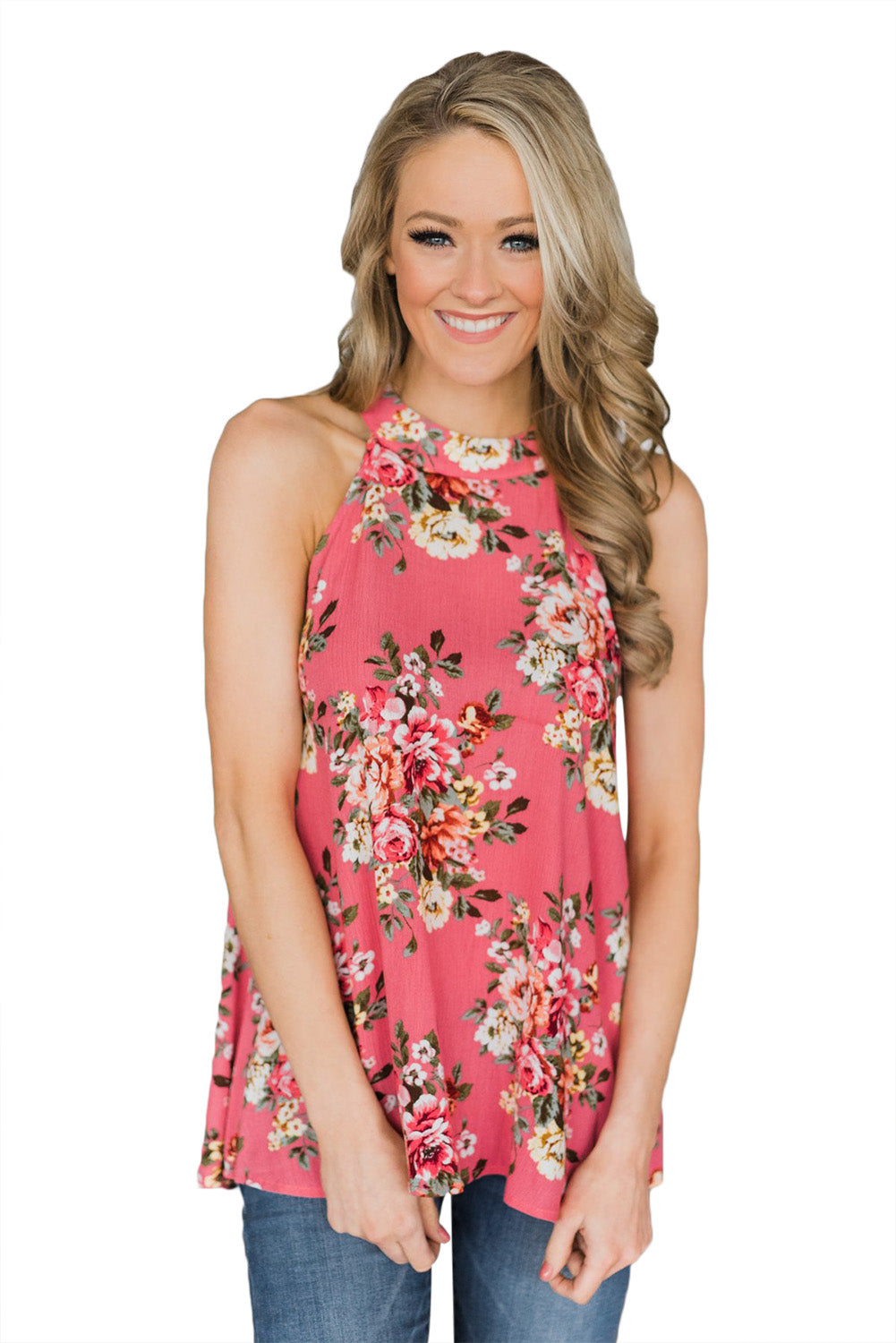 Coral Pink Floral Back Cutout Sleeveless Top