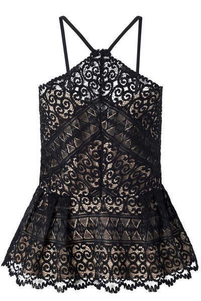 Black Floral Lace Overlay Fit & Flare Top