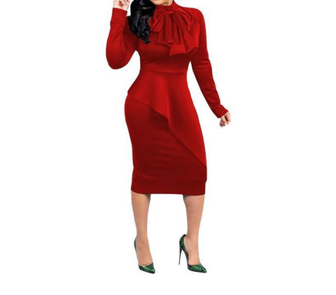 POPHERS Large-Sized Women's Dress With Solid Color Bow And High Waist Stitching And Long Sleeves