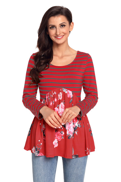 Purplish Red Floral Striped Babydoll Tunic