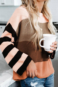 POPHERS Brown Crew Neck Color Block Oversized Pullover Knit Sweater