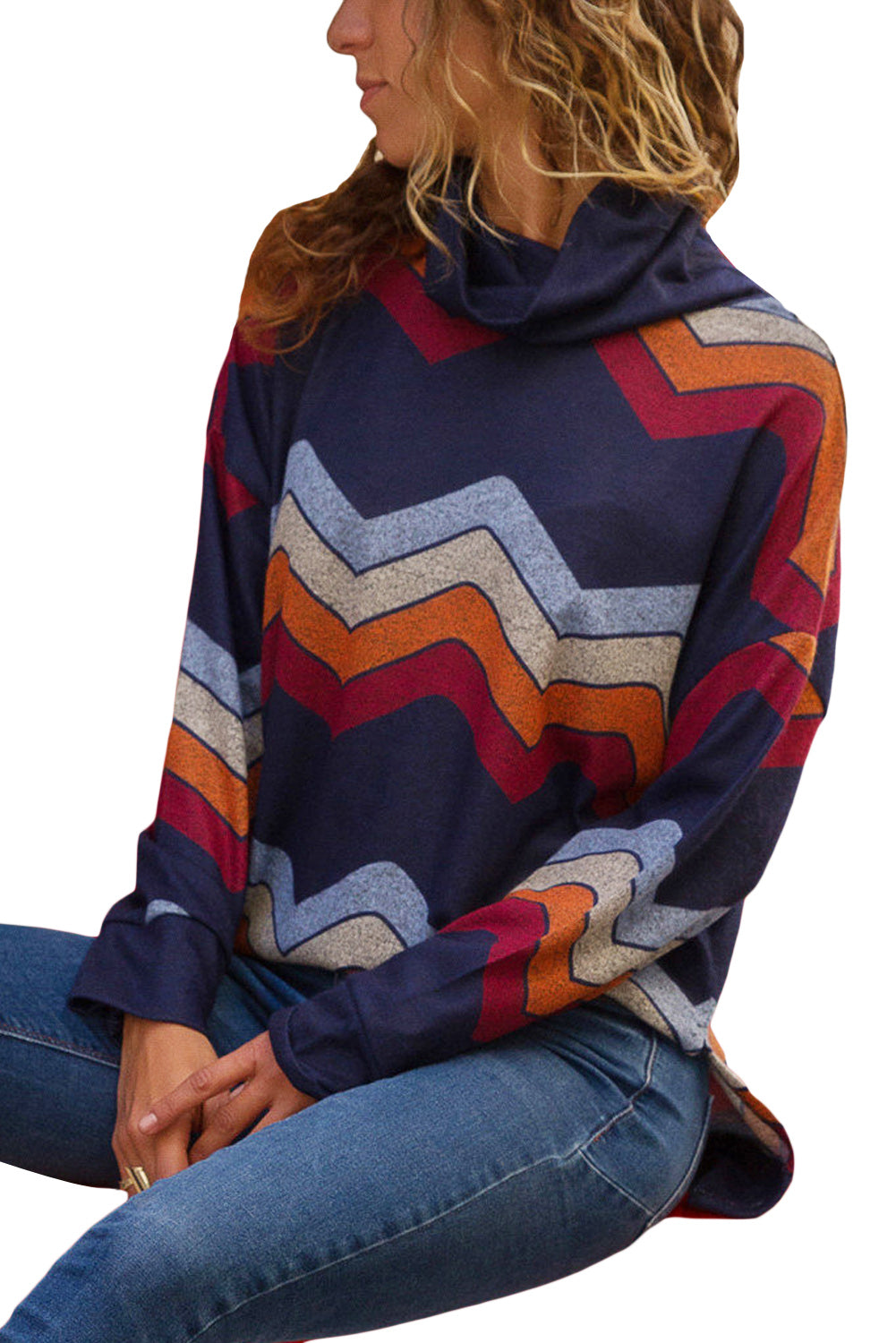 Blue Red Zigzag Striped Cowl Neck Top