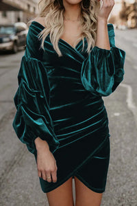 Green Puff Sleeve Off Shoulder Wrap Bodycon Velvet Dress