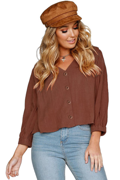 Rusty Button Down V Neck Chunky Linen Top