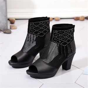 Waterproof Fish Mouth Net Shoes Women's Thick Heel Sandals