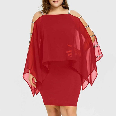 POPHERS Off-The-Shoulder Solid Color Large Size Bag Hip Midi Bodycon Dress