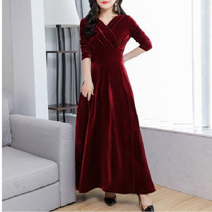 Gold Velvet Large V-Neck Code Slim Slimming High Waist Maxi Dress