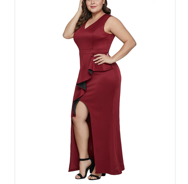 POPHERS Plus-size pure color sexy v-neck sleeveless high-waisted irregular flouncing dress