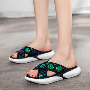 Fashion sequins platform slippers