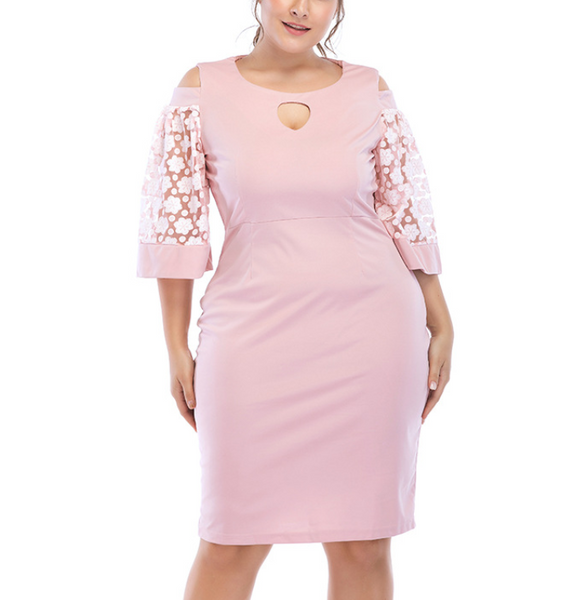 POPHERS Plus-Size Sexy Solid Color Hollow Out Middle Sleeve Mini Dress